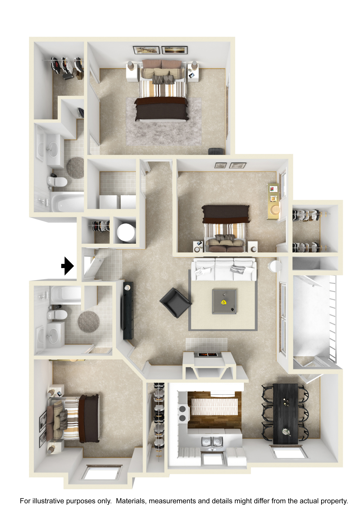 3 Bedroom Apartments Tampa: Crowne At The Summit: Stylish